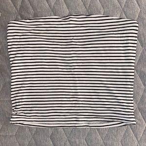 American Eagle - Black & White Striped Tube Top -M